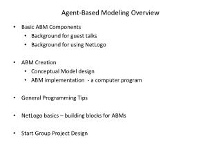 Agent-Based Modeling Overview