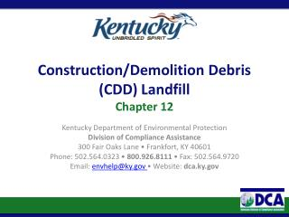 Construction/Demolition Debris (CDD) Landfill Chapter  12