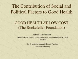 The Contribution of Social and Political Factors to Good Health ...
