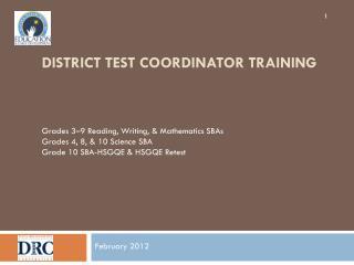 District Test Coordinator Training