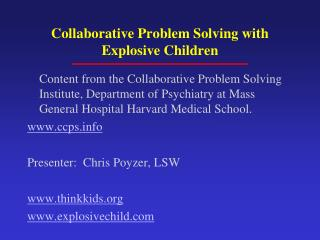 Collaborative Problem Solving with Explosive Children