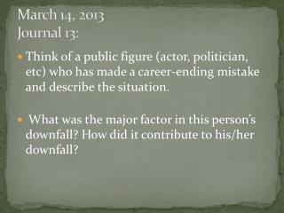 March  14,  2013 Journal  13: