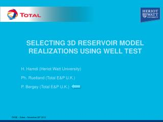 SELECTING 3D RESERVOIR MODEL REALIZATIONS USING WELL TEST