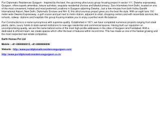 Puri Diplomatic Residences Gurgaon - 9999990015
