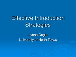Effective Introduction Strategies