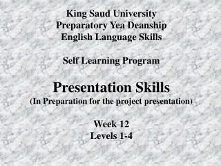 King Saud University Preparatory Yea Deanship English Language Skills Self Learning Program