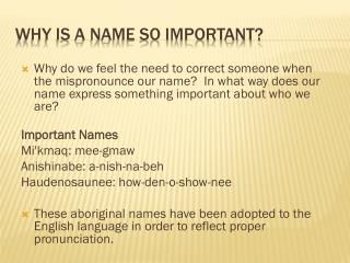 Why is a name so important?
