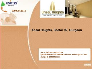 Ansal Heights Sector 92 Gurgaon @ 09999561111 - Ansal Height