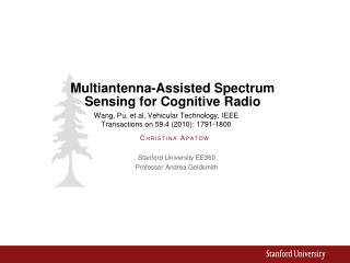 Multiantenna-Assisted Spectrum Sensing for Cognitive Radio