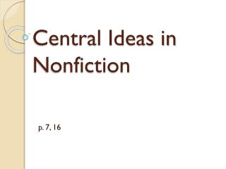 Central Ideas in Nonfiction