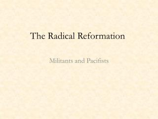 The Radical Reformation