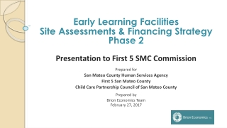 Early Learning Facilities Site Assessments & Financing Strategy Phase 2