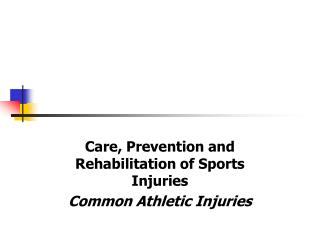 Care , Prevention and Rehabilitation of Sports Injuries Common Athletic Injuries