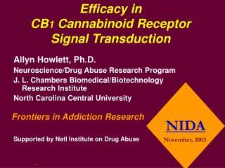 Efficacy in CB 1 Cannabinoid Receptor Signal Transduction