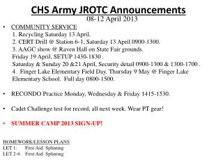 CHS Army JROTC  Announcements