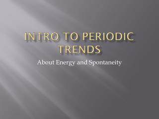 Intro to Periodic Trends