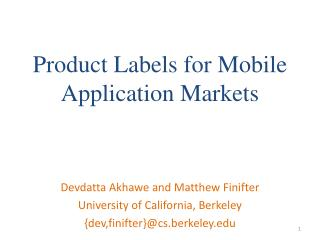 Product Labels for Mobile Application Markets