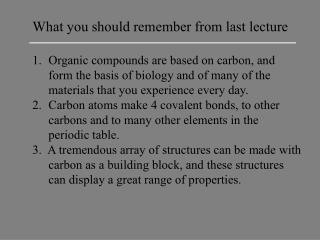 What you should remember from last lecture