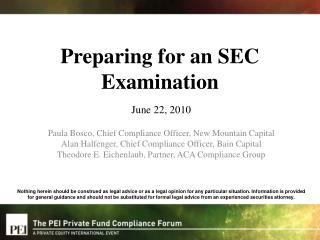Preparing for an SEC Examination