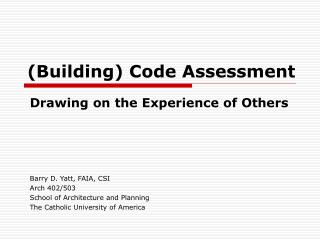 (Building) Code Assessment