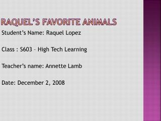 Raquel's Favorite Animals