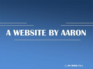 A WEBSITE BY AARON