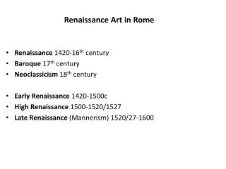 Renaissance Art in Rome
