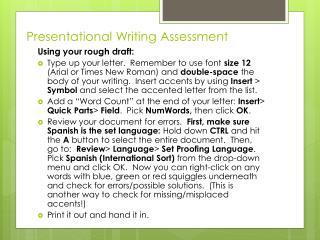 Presentational Writing Assessment