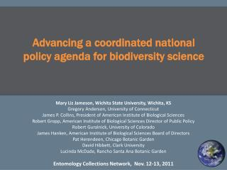 Advancing a coordinated national policy agenda for biodiversity science