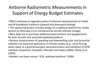 Airborne Radiometric Measurements in Support of Energy Budget Estimates