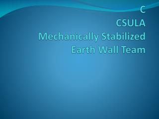 C CSULA Mechanically Stabilized  Earth Wall Team