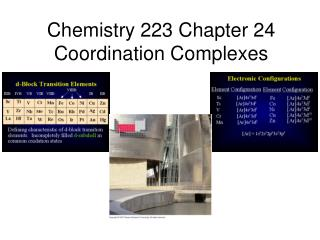 Chemistry 223 Chapter 24 Coordination Complexes