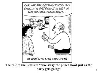 "The role of the Fed is to ""take away the punch bowl just as the party gets going"""