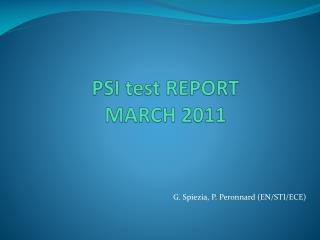 PSI test REPORT  MARCH 2011