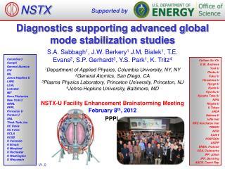 Diagnostics supporting advanced global mode stabilization studies
