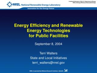 Energy Efficiency and Renewable Energy Technologies  for Public Facilities
