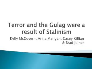 Terror and the Gulag were a result of  Stalinism