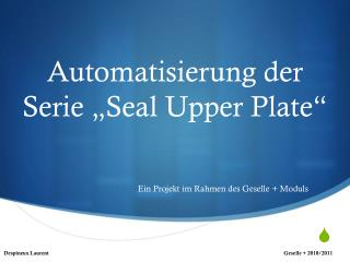 "Automatisierung der Serie ""Seal Upper Plate"""