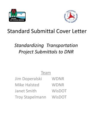 Standardizing  Transportation  Project Submittals to DNR