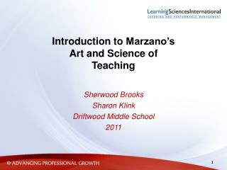 Introduction to  Marzano's Art and Science of Teaching