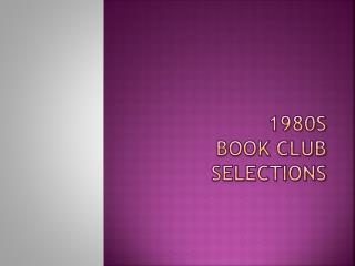 1980s  BOOK CLUB SELECTIONS