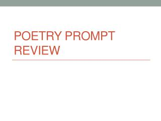 Poetry Prompt Review
