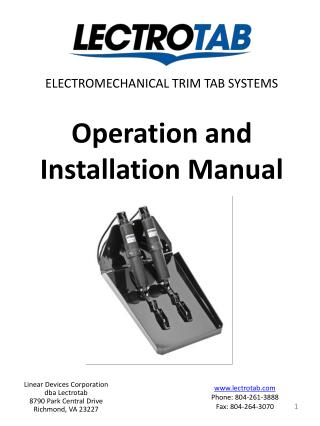 Operation and Installation Manual