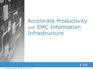 Accelerate Productivity with  EMC Information Infrastructure