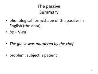 The passive Summary