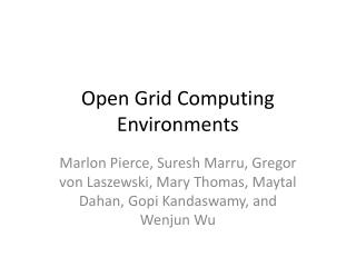 Open Grid Computing Environments