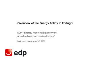 Overview of the Energy Policy in Portugal