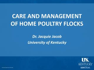 CARE AND MANAGEMENT OF HOME POULTRY FLOCKS