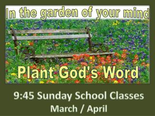9:45 Sunday School Classes March / April