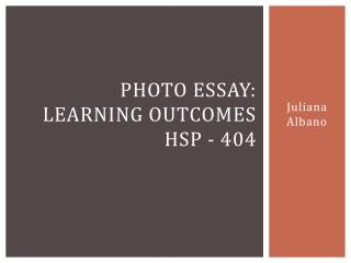 Photo Essay: Learning outcomes hsp  - 404